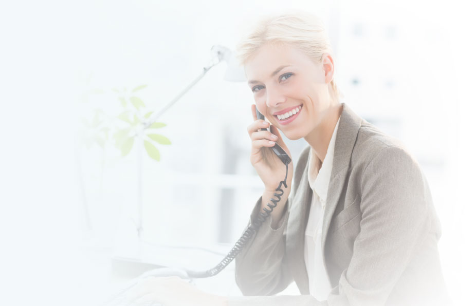 Image of a woman using a small business phone system