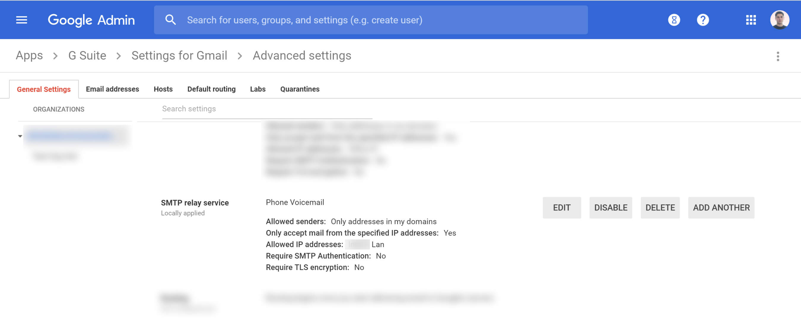 Example Google Relay SMTP Relay Details Setup For Avaya Voicemail to Email