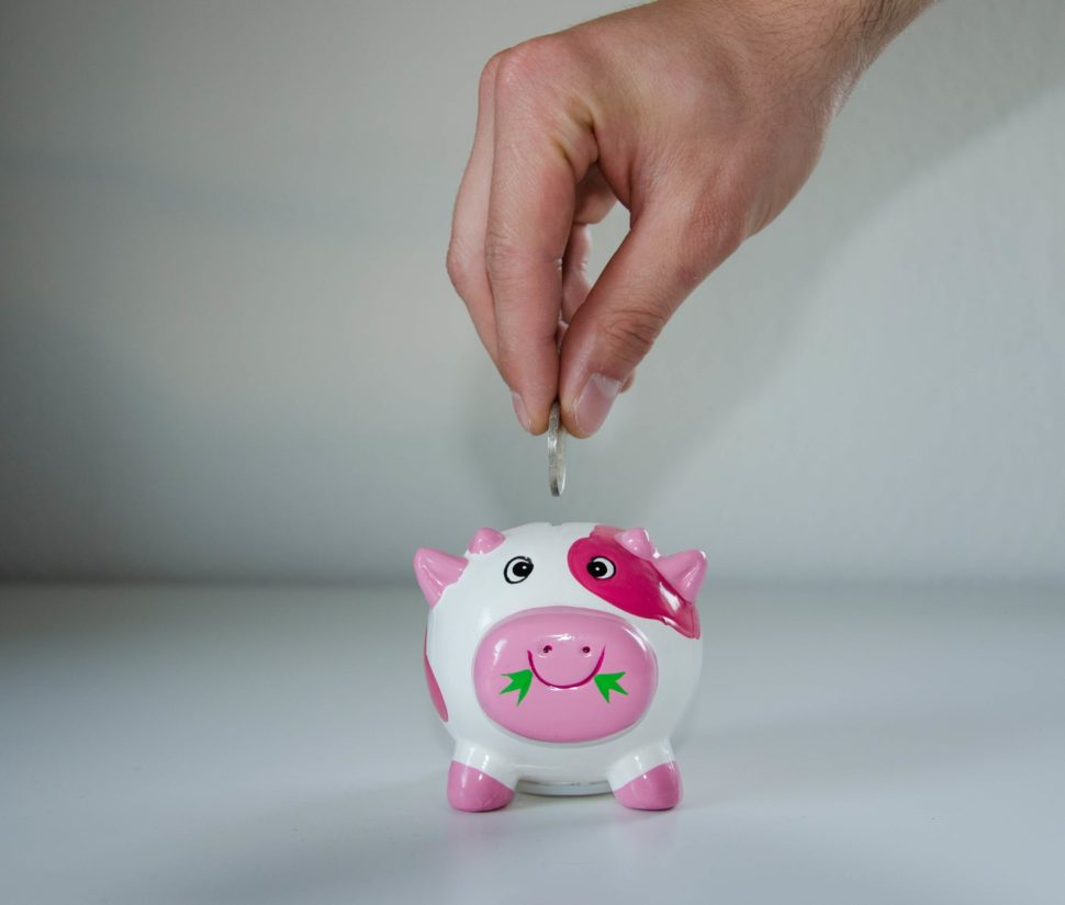 image of a person putting a dollar into a pink pig piggy bank